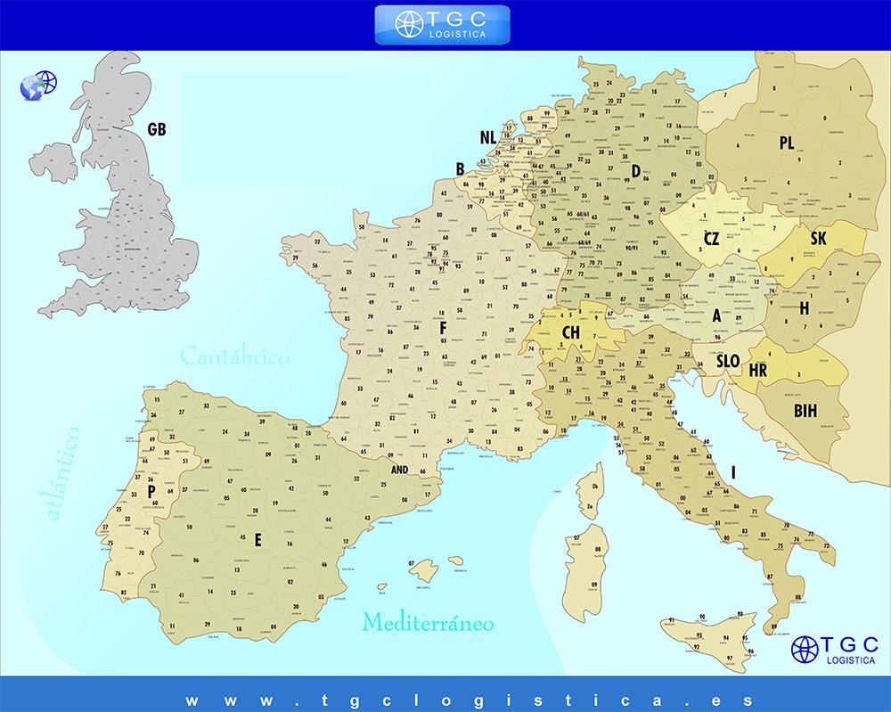 codigos postales de europa:
